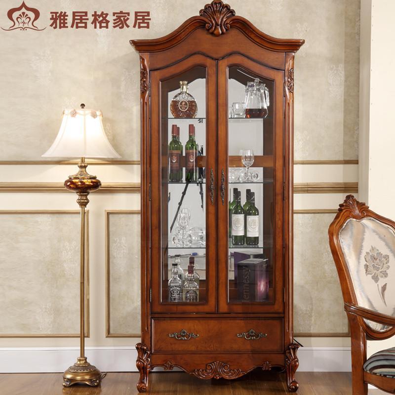 雅居格欧式酒柜 实木酒柜 美式乡村田园高档酒柜客厅餐边柜a1.