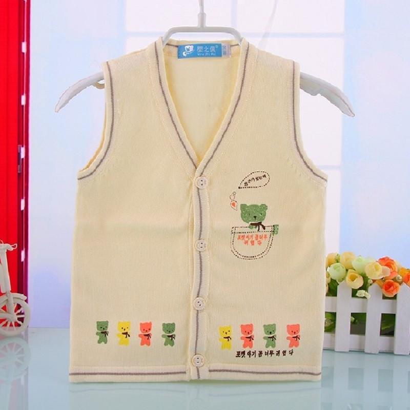 新款韩版儿童毛线马甲背心 超可爱毛衣马夹 线纱衣马甲 蓝色 73cm高清