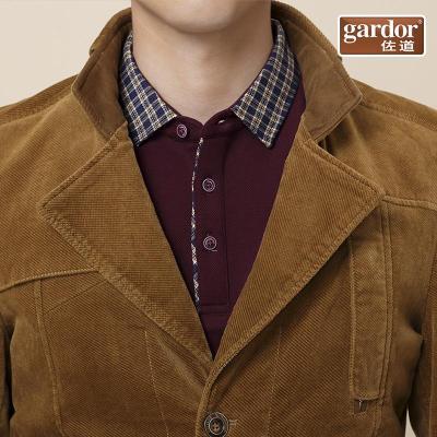 佐道男装 2014秋装新款男士纯色灯芯绒磨毛休闲夹克衫 立领男外套