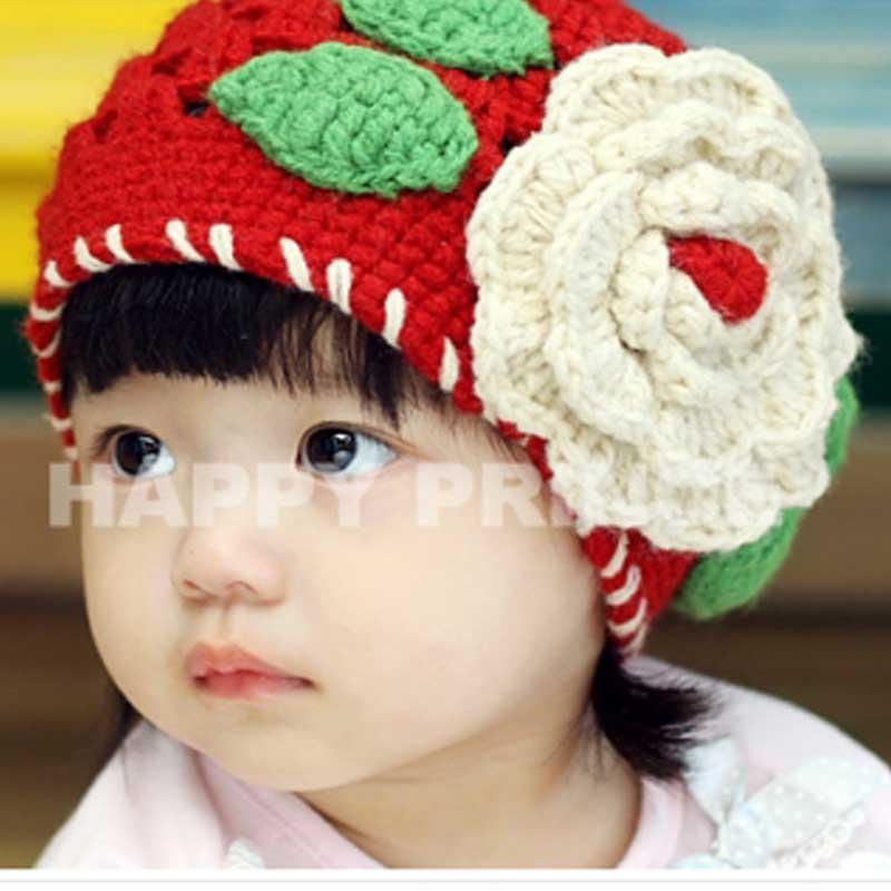 韩版秋冬款 女婴幼儿童手工大花朵帽子 公主女宝宝针织毛线保暖帽