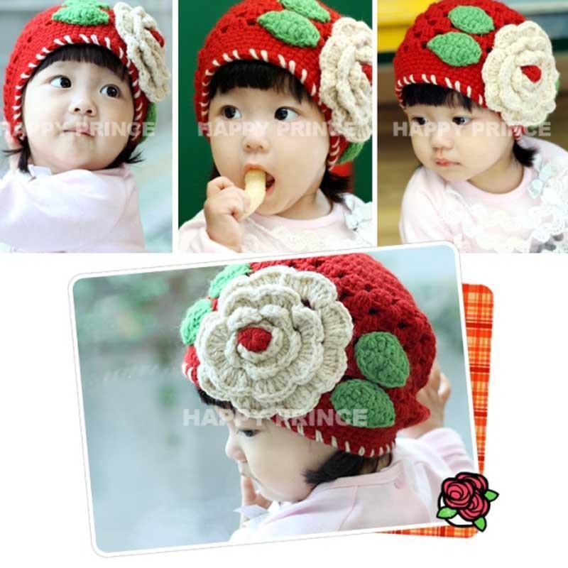 女婴幼儿童手工大花朵帽子