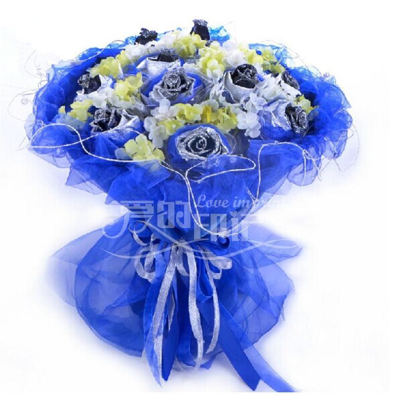 鲜花12朵蓝色妖姬花束 鲜花花束