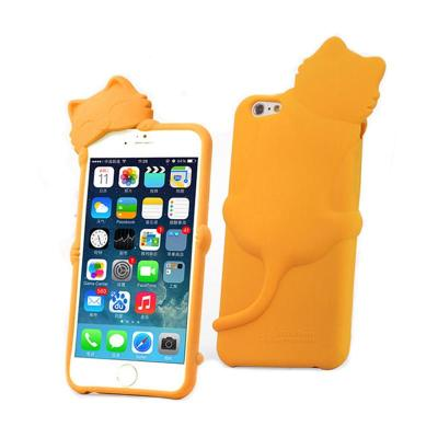 硅胶手机套_7寸 苹果6保护壳 手机外壳 软硅胶套 趴趴猫 防摔 橙色