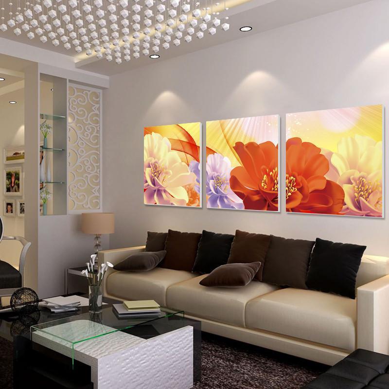 美時美刻現代家居室內裝飾畫 簡約客廳裝飾畫花開富貴三聯無框畫壁畫