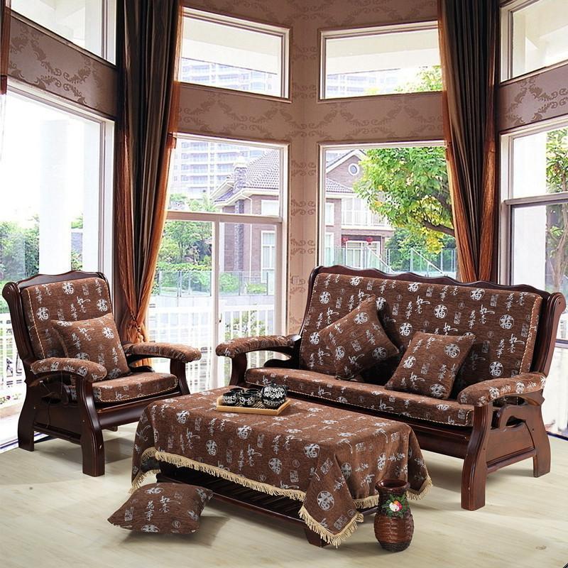 秋冬雪尼尔实木沙发坐垫 带靠背婚庆坐垫 二人 三人家用坐垫 垫子