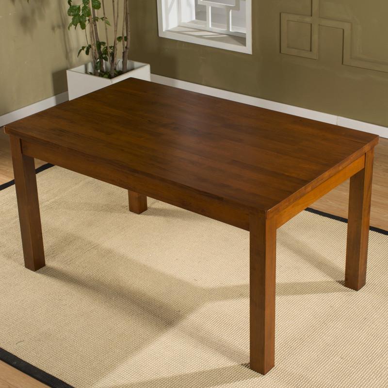 现代简约橡胶木实木餐桌