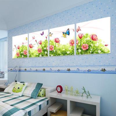 美时美刻卡通现代装饰画儿童房四联仿水彩无框画墙上