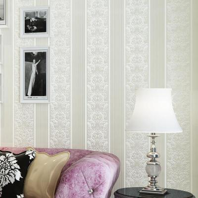 旗航大马士革欧式墙纸卧室客厅电视背景墙竖条立体