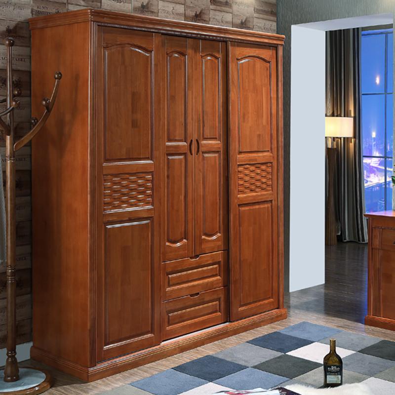 艾乐迪 实木衣柜 橡木四门推拉衣柜 卧室衣橱 现代中式风格 四门推拉