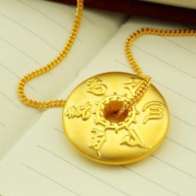金地珠宝足金六字真言3d硬金吊坠时尚大方黄金吊坠男女款项坠