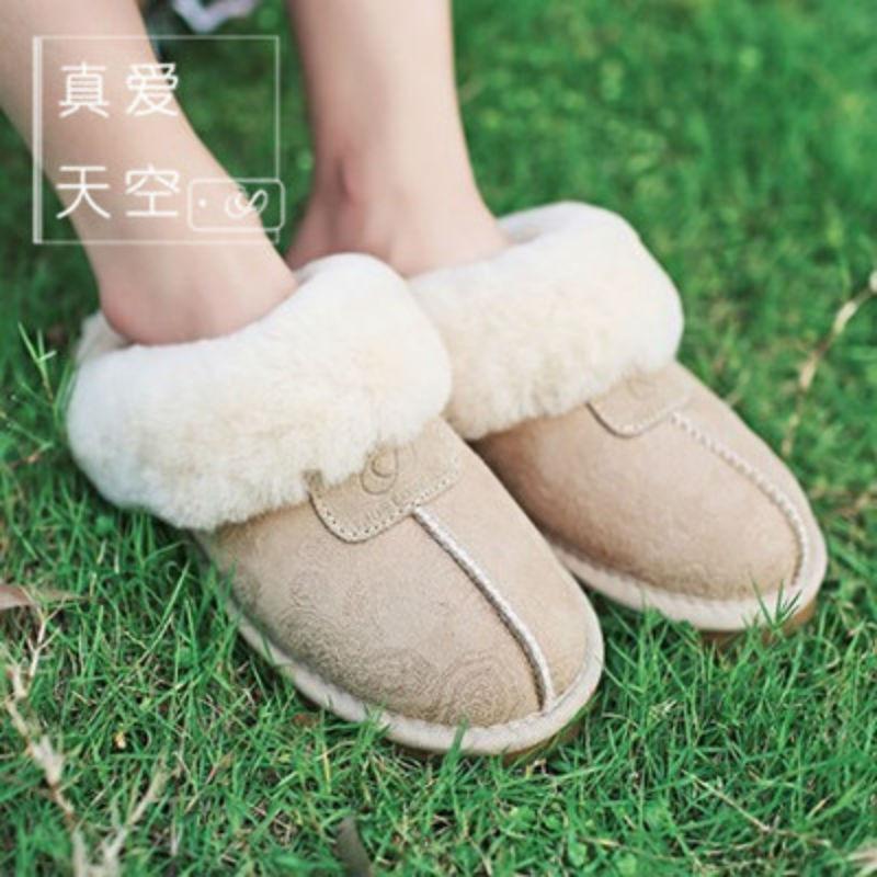 2014新款粉凤尾奢华拖鞋澳洲羊皮毛一体棉拖秋冬居家保暖女鞋 沙凤尾