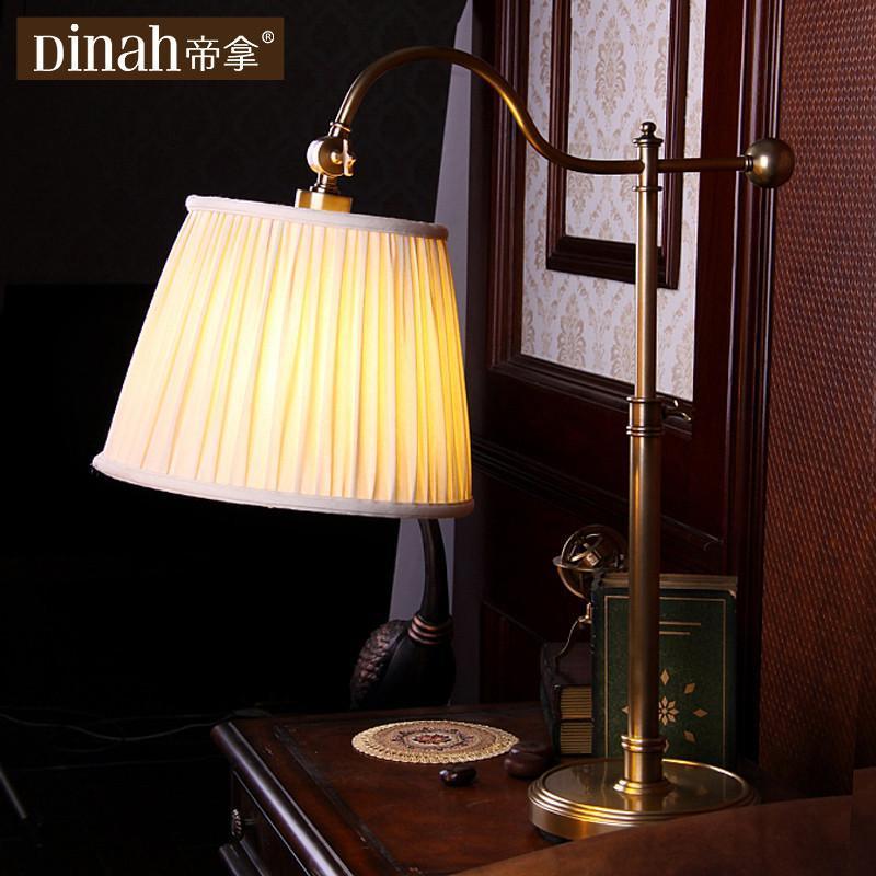 帝拿欧式全纯铜台灯美式客厅书房卧室床头装饰多功能