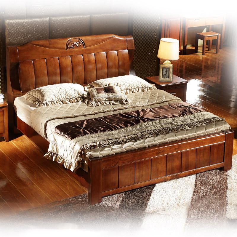 实木床 双人床 简约中式现代北美田园实木宜家家具 超厚橡木床1.