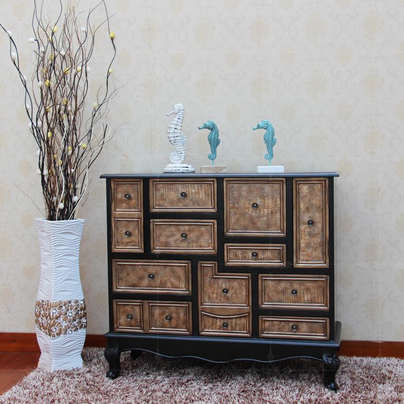 彩绘柜子美式乡村复仿古做旧斗柜装饰柜欧式玄关柜油画地中海家ch8005