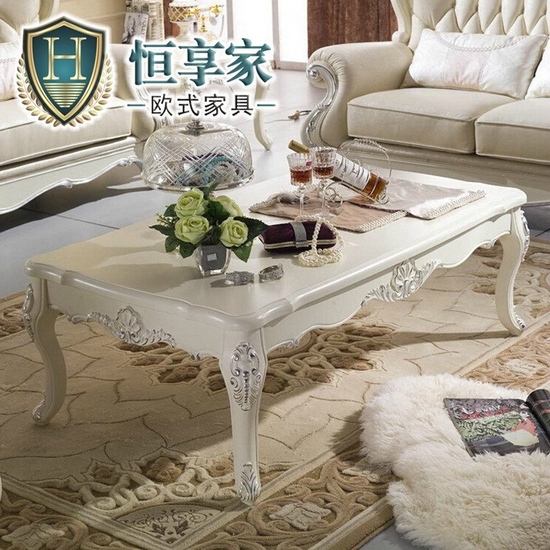 恒享家 欧式茶几 实木茶几 简约长方形茶几 法式 客厅家具 hcj002# 1.