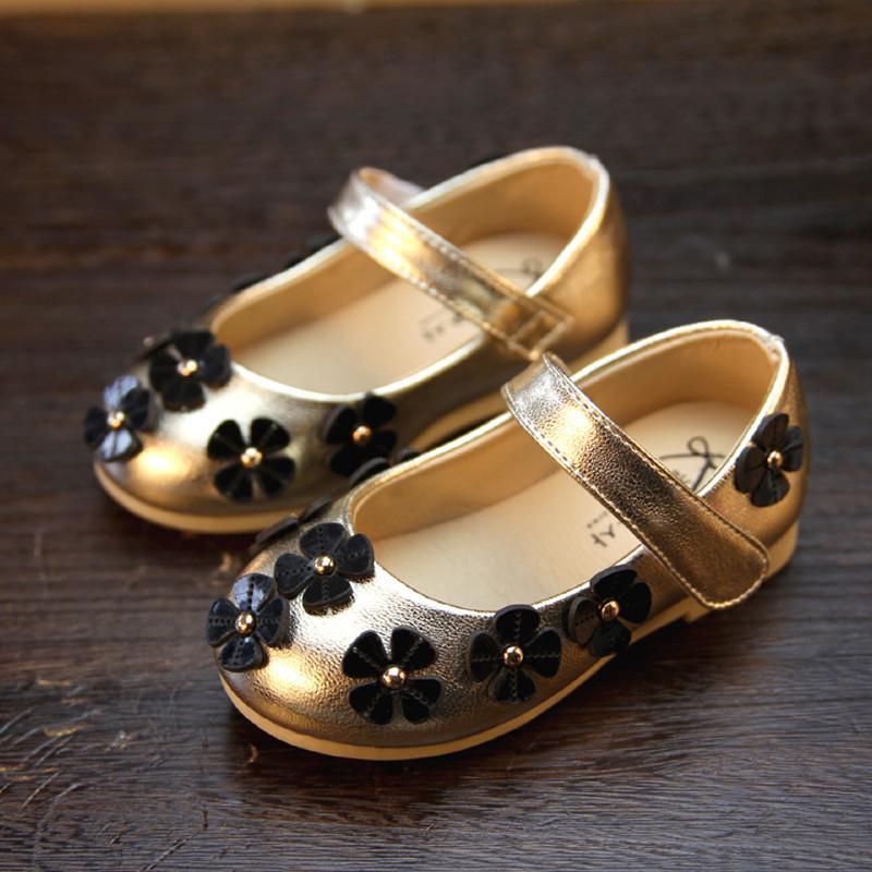 2015春秋季新款 儿童韩版女童公主鞋金色皮鞋 宝宝可爱潮单鞋子 金色