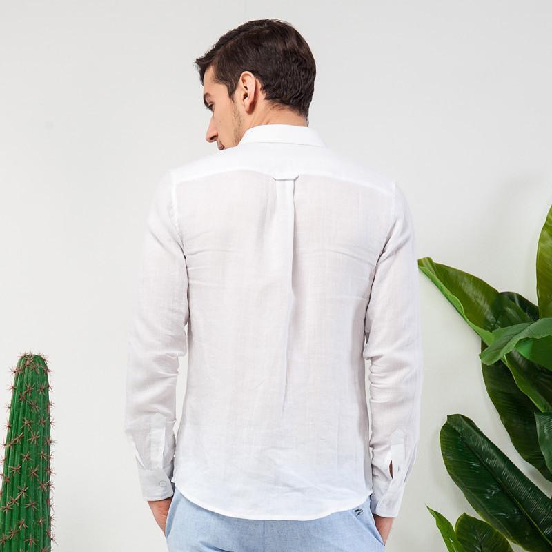 男�9il�l#�+_比菲力2015春装新款亚麻长袖白衬衫男长袖衬衣大码棉麻男装上衣男