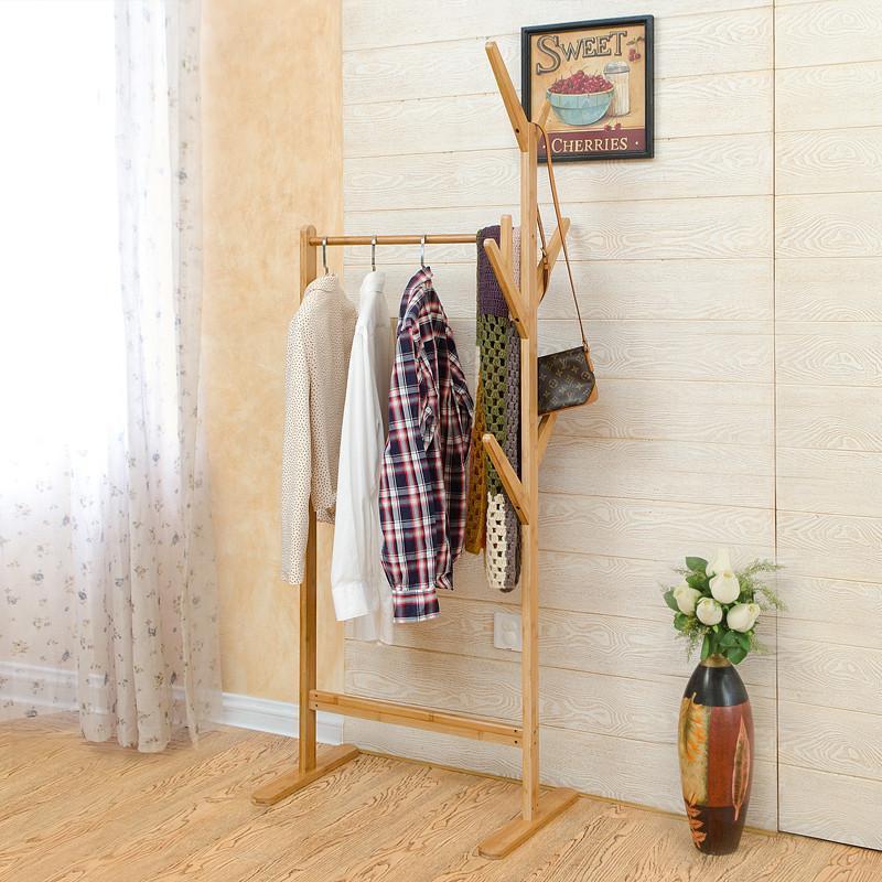 纯竹子衣帽架树杈双杆挂衣架宜家衣服架简易晾衣架卧室 楠竹本色图片