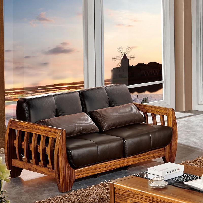 惠宜家居 乌金木沙发 真皮沙发 客厅组合沙发hy-s012 三人位