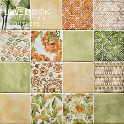 进口瓷砖 晓爱爱彩 现代简约田园 厨房卫生间 墙砖花砖彩色