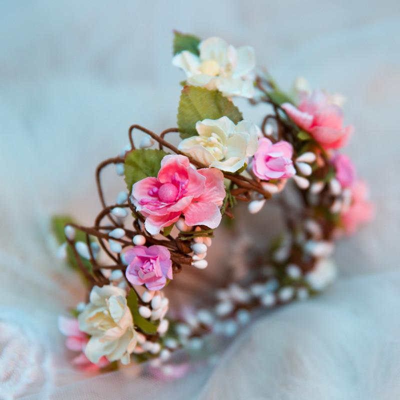水舞原创新娘花环森女全花朵结婚头环头花手工写真造型 青木b0678