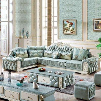 俏夫人法式新古典布艺沙发欧式复古客厅转角贵妃沙发