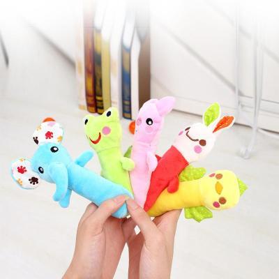 婴儿玩具bb棒 动物手偶安抚玩偶 宝宝手抓摇铃布偶单个装均码 黄色-小