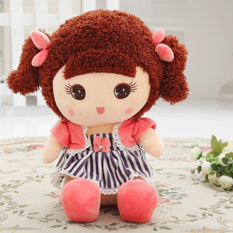 yiru65厘米蓝色可爱大眼睛邻家女孩公仔小女孩毛绒玩具布娃娃 生日