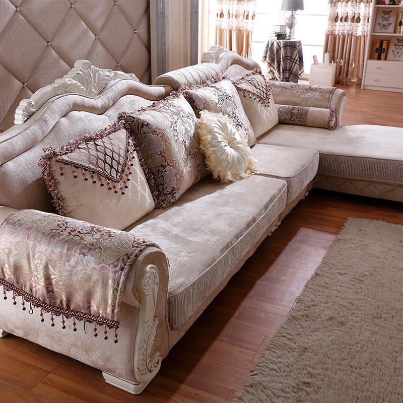 铂尼诗欧式布艺沙发大小户型客厅奢华组合实木转角