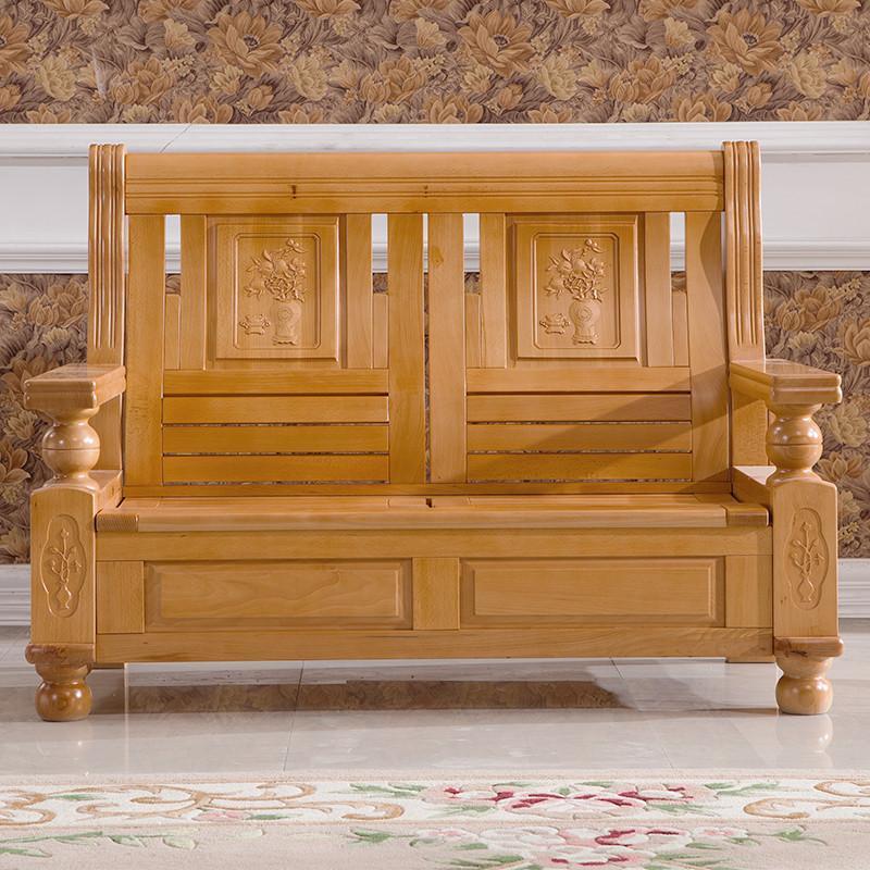 实木沙发组合 客厅榉木实木沙发