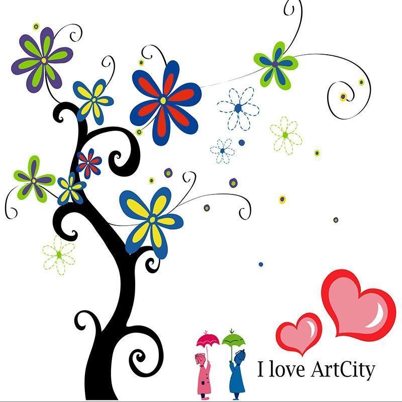 简约现代抽象花卉装饰画 儿童房壁画卡通艺术无框画发财树