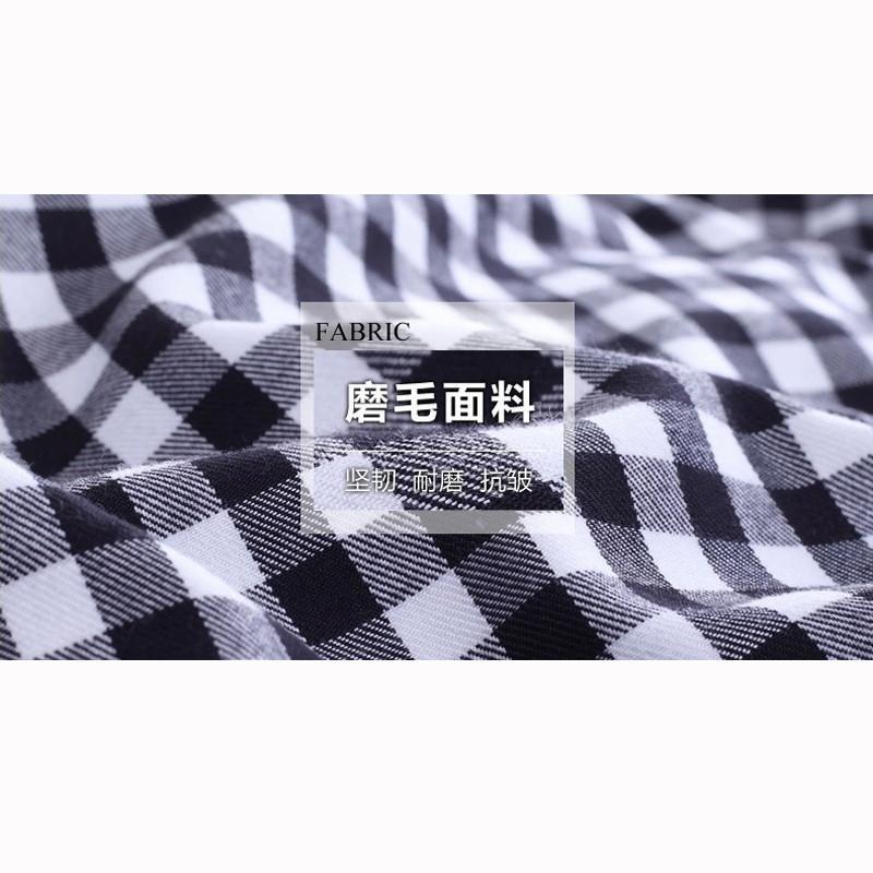 男装韩版修身时尚百搭蓝白格子衬衣100695535黑色
