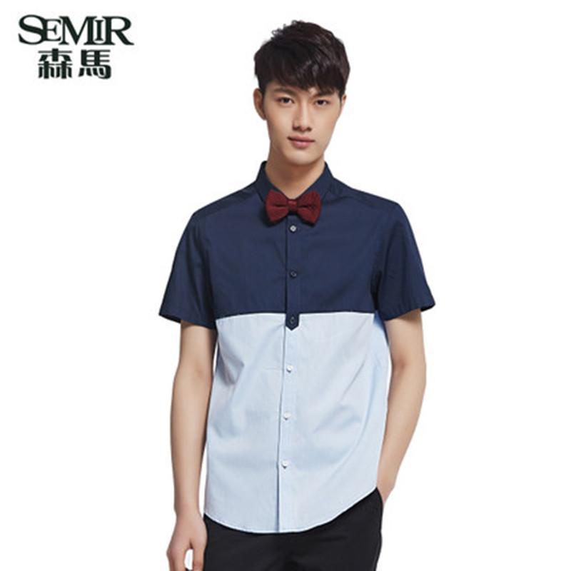 森马男装2015夏装新款短袖衬衫 男 拼接合体衬衣 韩版休闲上衣潮 蓝色图片