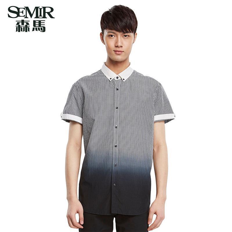森马男装2015夏装新款短袖衬衫 男士纯棉格子渐变衬衣 韩版上衣 黑白图片