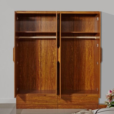 御品工匠 实木衣柜 推拉门大衣柜 实木四门衣柜可加顶柜 现代中式衣柜