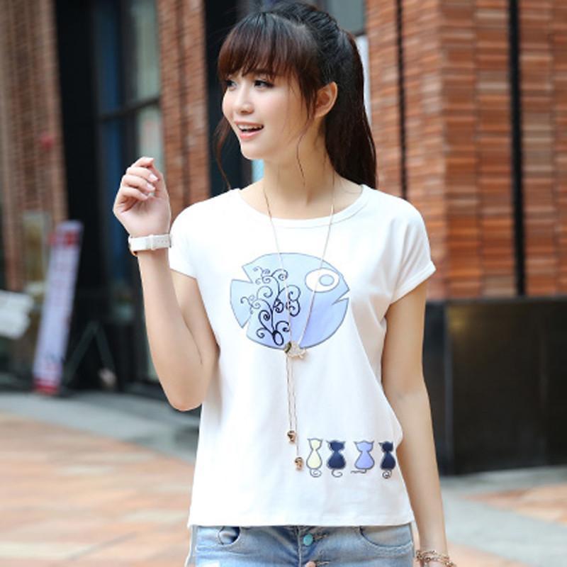 2015夏装新款韩版女装时尚宽松可爱印花圆领