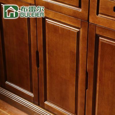 中式现代简约高档实木三门鞋柜