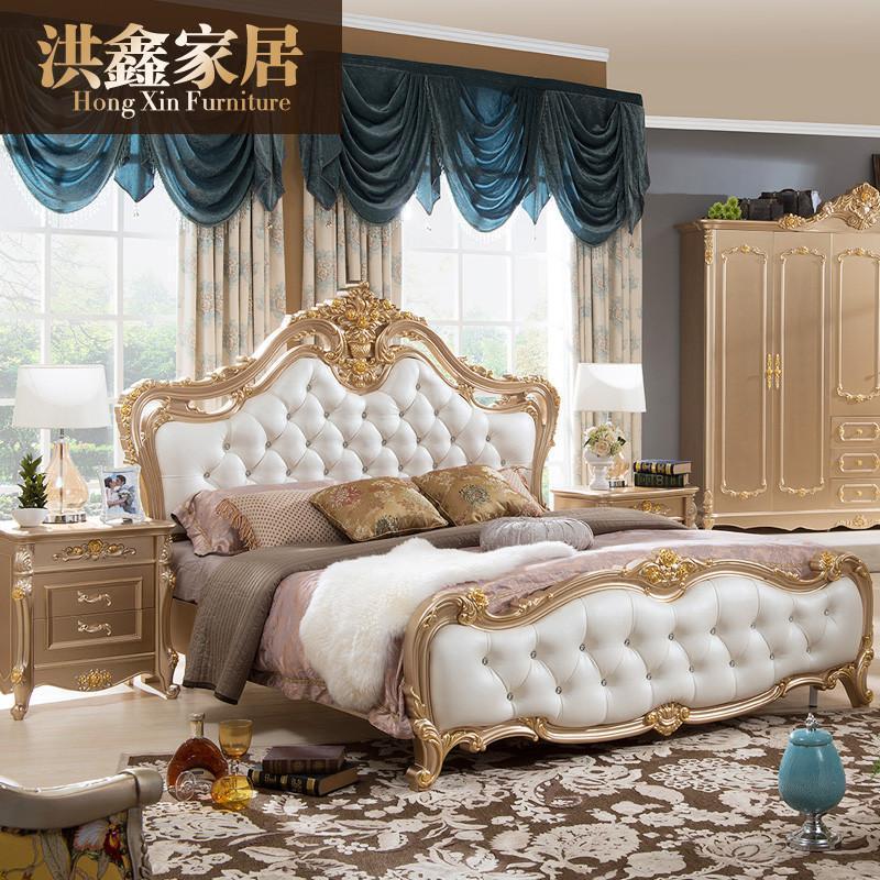 真皮家居卧室床欧式双人床