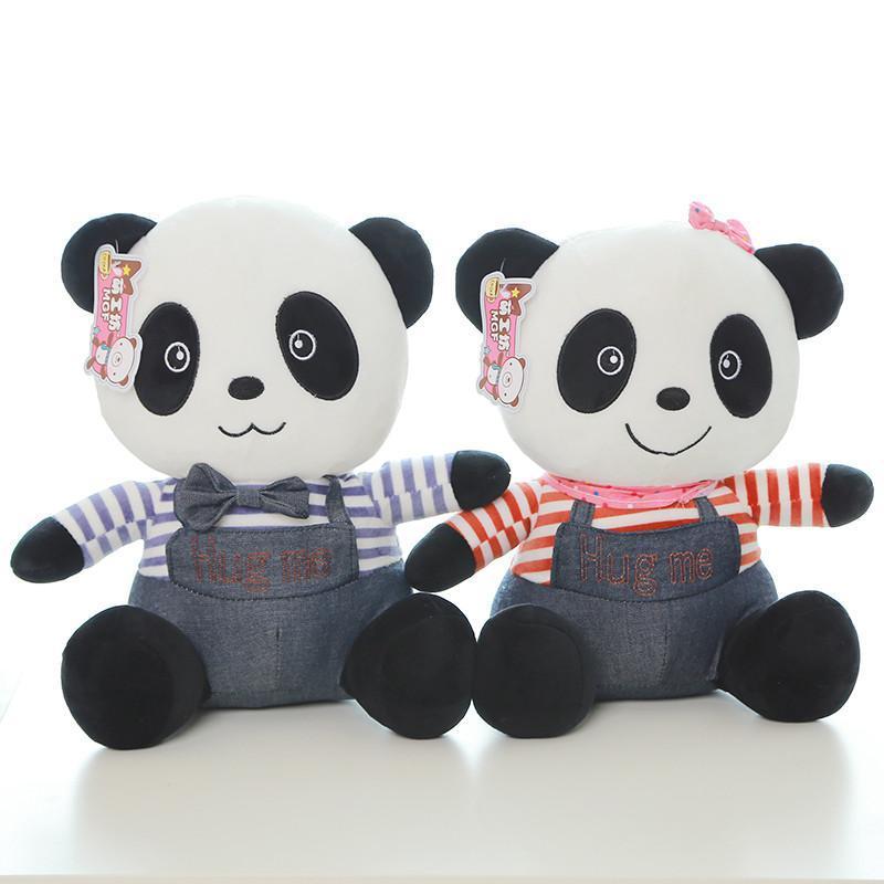 可爱牛仔熊猫新款情侣泰迪熊毛绒玩具 公仔玩偶 白色白衣服 30cm