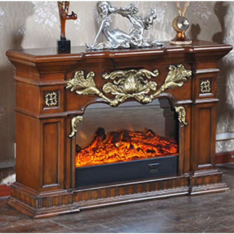 2米深色欧式壁炉装饰柜美式电视柜实木壁炉架深色