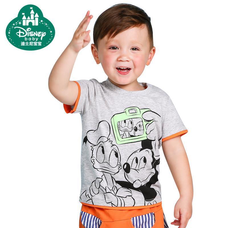 男童短袖t恤夏季儿童打底衫童装男宝宝宝宝休闲上衣婴儿圆领t恤 浅花