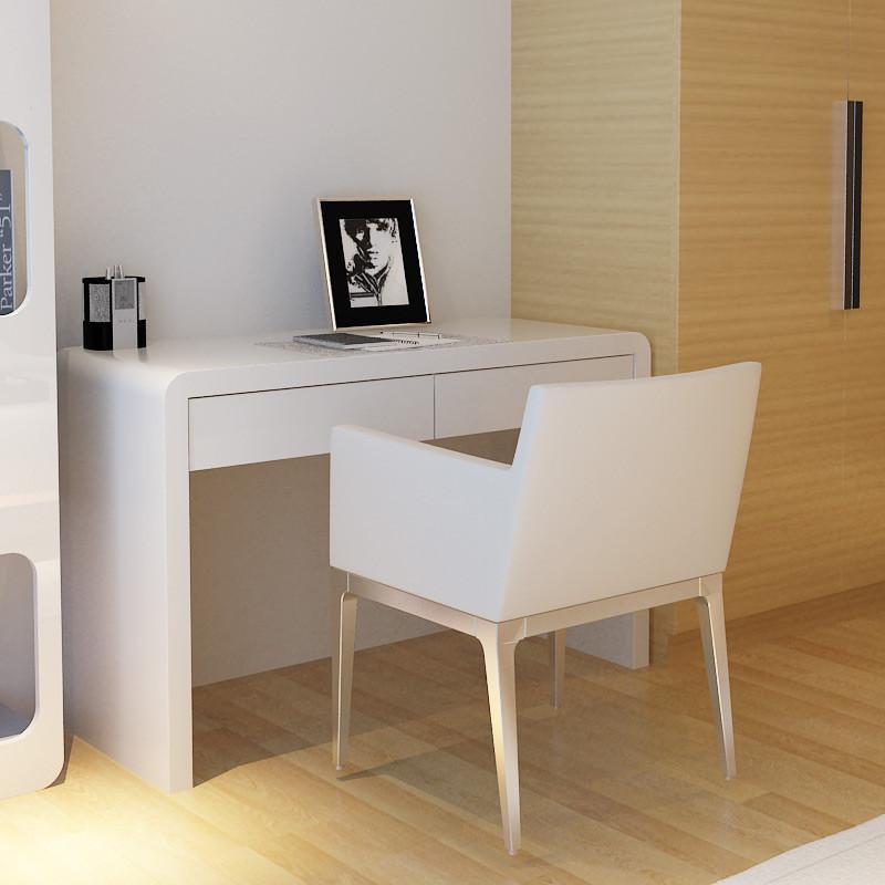 简约烤漆白色书桌 卧室电脑桌台式家用