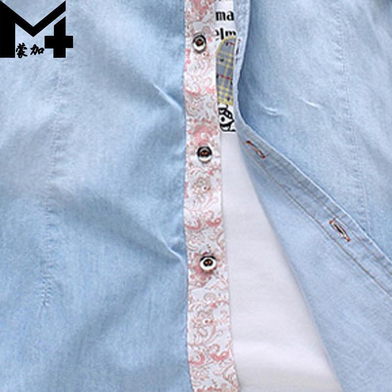2015新潮花边男生牛仔衬衫韩版纯色短袖衬衫潮男装 c2818浅蓝色 m