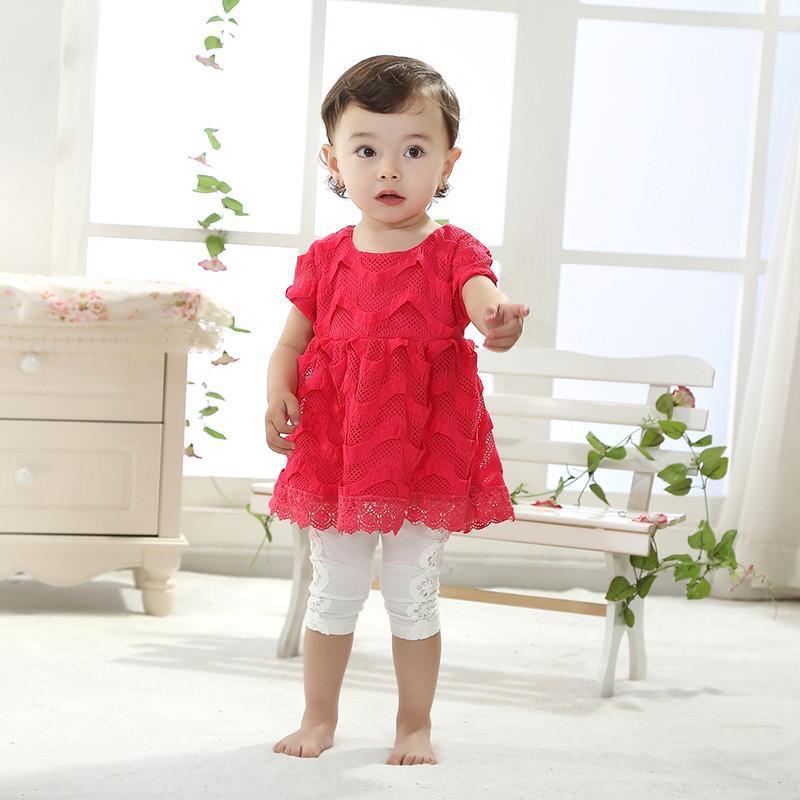 夏季款童装女宝宝可爱公主大红色短袖蕾丝裙七分裤套装2件套夏装
