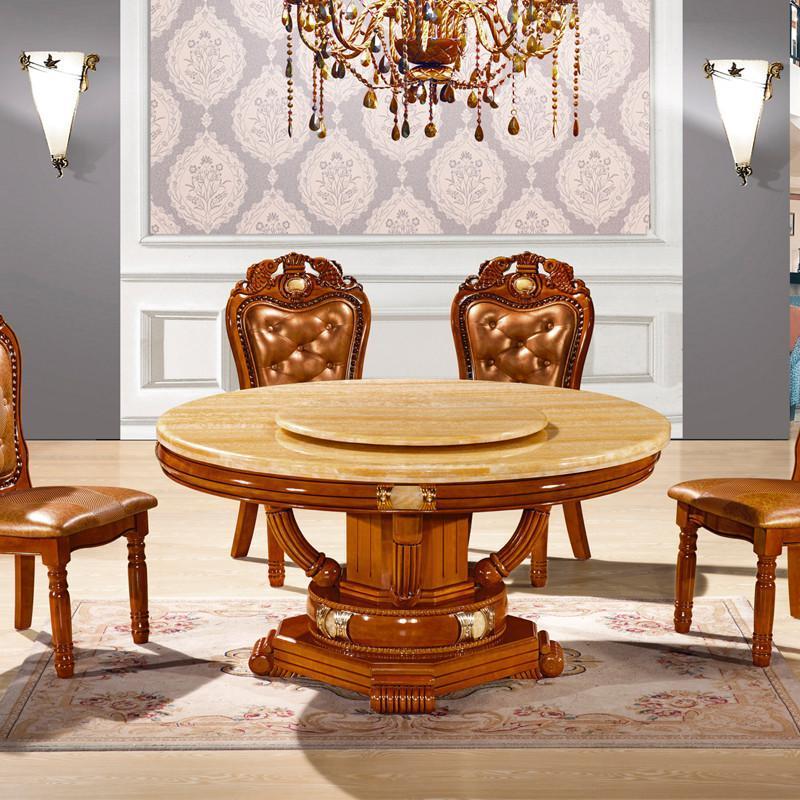 摩力克 实木餐桌 欧式古典圆形餐桌 大理石餐桌 雕花餐桌椅组合 两色