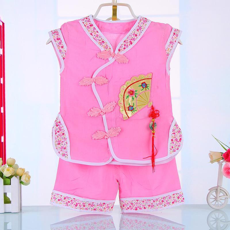 2015夏季新款女童唐装套装宝宝夏天衣服中式华服儿童