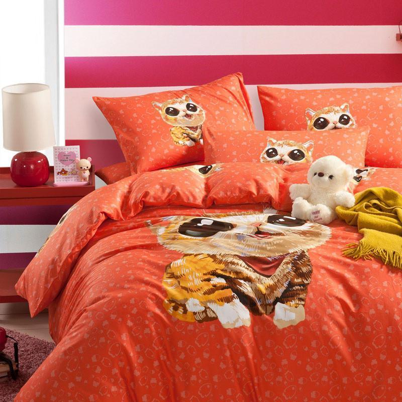 晶丽莱家纺 原创手绘全棉四件套 卡通小动物图案纯棉床单被套byf 甜蜜