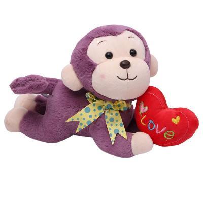 可爱love抱心趴趴猴公仔猴子毛绒玩具爱心小猴