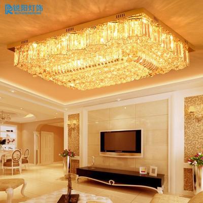 锐阳客厅灯现代欧式水晶灯长方形吸顶灯led别墅大厅
