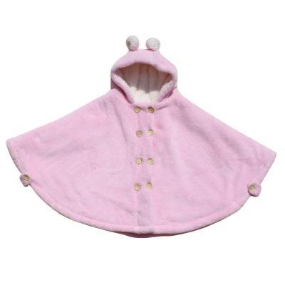 婴儿宝宝披风斗篷秋冬款加厚保暖儿童外出披肩防风连帽 粉色(中厚)